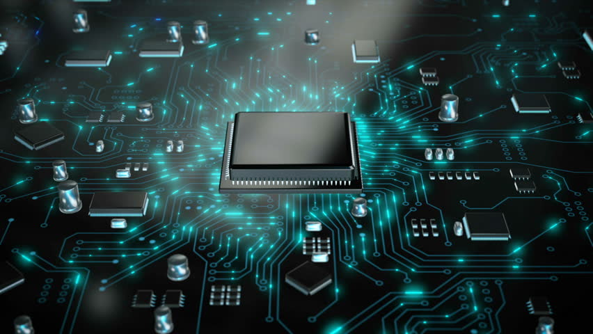 3D render CPU central processor unit chipset on the printed circuit board for electronic and technology concept select focus shallow depth of field Royalty-Free Stock Footage #1023115450