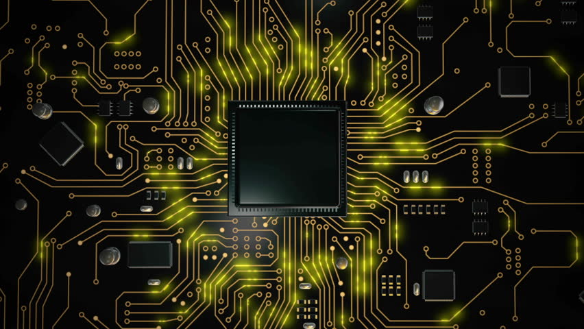 3D render CPU central processor unit chipset on the printed circuit board for electronic and technology concept select focus shallow depth of field Royalty-Free Stock Footage #1023115453