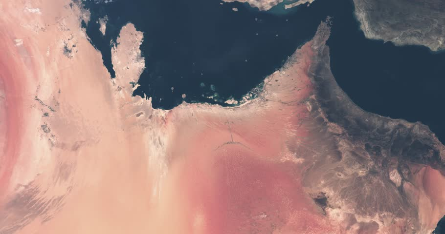 Persian Gulf aerial seen from satellite high altitude at space. Dubai, Abu Dhabi, Qatar, Saudi-Arabia, Oman and Iran. Sea, coastline and desert. Contains modified Copernicus Sentinel data (2018). | Shutterstock HD Video #1023136813