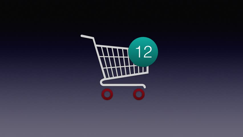 Animation of adding Items to a shopping cart Icon.  Shopping cart appears from the left,  animated counting numbers. | Shutterstock HD Video #1023149599