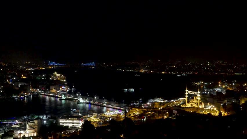 Istanbul night timelapse bosphorus city ( panasonic gh4 )   Shutterstock HD Video #1023155920