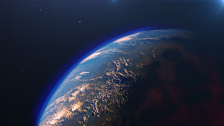 Planet earth from space. High detailed animation. Sunrise view from space on Planet Earth. Clip contains space, planet, galaxy, stars, cosmos, sea, earth, sunset, globe. 4k 3D Render. Images from NASA #1023157804