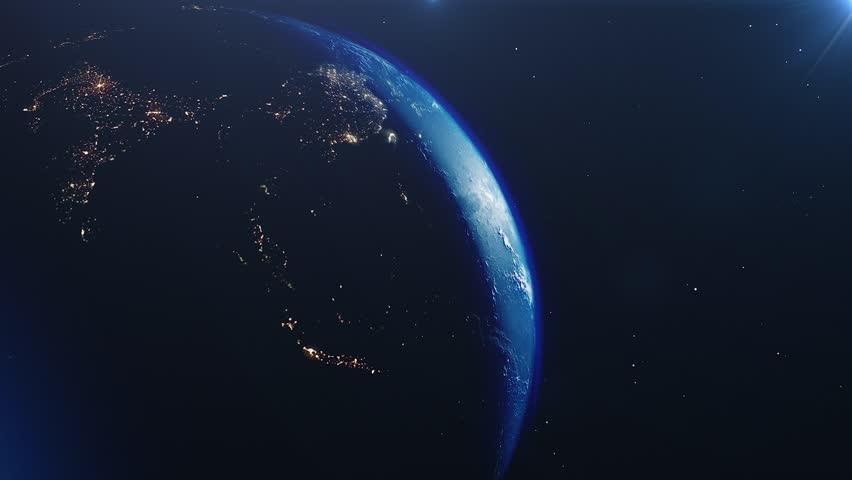 Planet earth from space. High detailed animation. Sunrise view from space on Planet Earth. Clip contains space, planet, galaxy, stars, cosmos, sea, earth, sunset, globe. 4k 3D Render. Images from NASA #1023157816