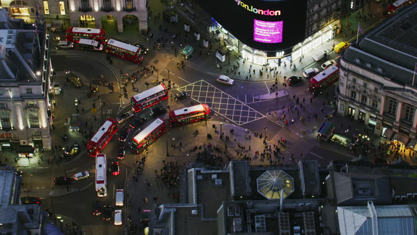 London UK - November 2017: Aerial view at night Piccadilly Circus evening rush hour LED advertising displays and illuminated buildings London England UK RED WEAPON