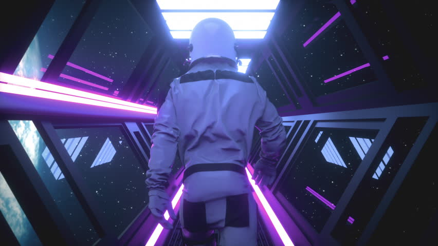 Astronaut going through the tunnel to another compartment of the space gateway | Shutterstock HD Video #1023172057
