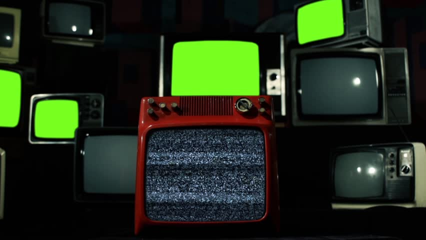 "Malfunction Old Tvs Green Screen. Blue Tone. Zoom In. You can replace green screen with the footage or picture you want. You can do it with ""Keying"" effect (check out tutorials on YouTube). 