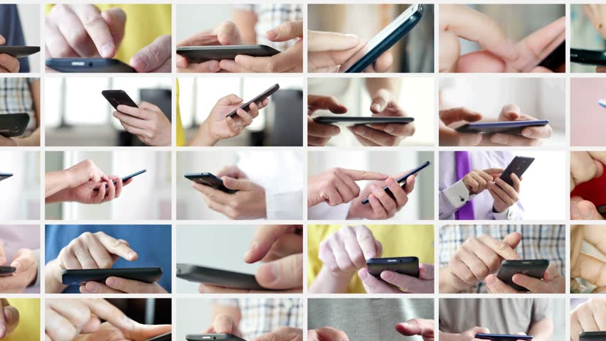 Close-up of hands holding smartphone, typing text on touch screen and using applications. A person typing message in social network and looking for information. Collage | Shutterstock HD Video #1023189256