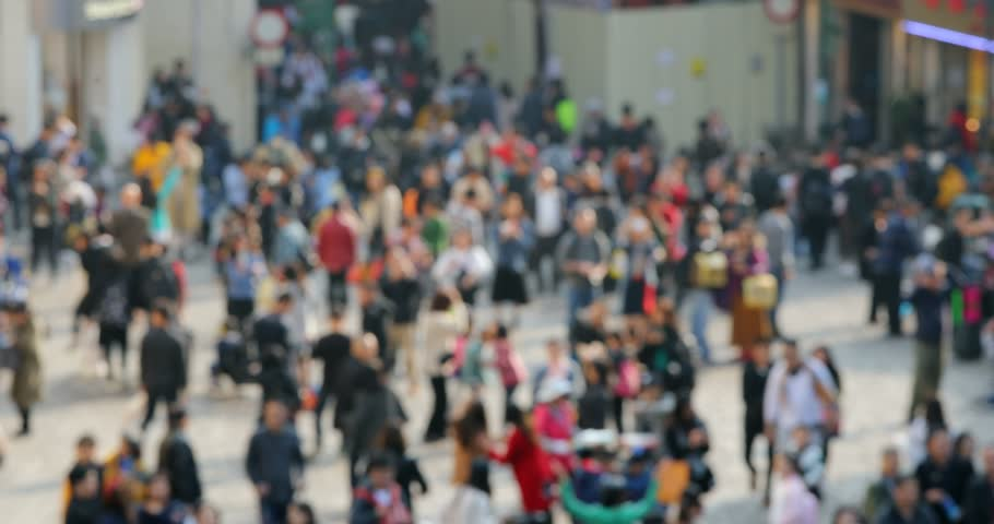 Blur of the crowded people in the street | Shutterstock HD Video #1023208786