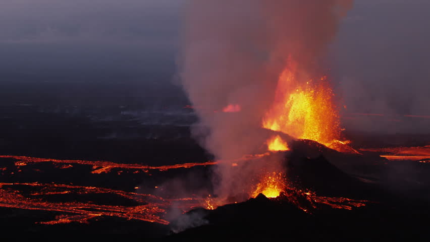 Aerial night volcano lava Holuhraun magma land fissures seismic activity hydrothermal heat steam gas cloud Iceland RED EPIC | Shutterstock HD Video #1023213196