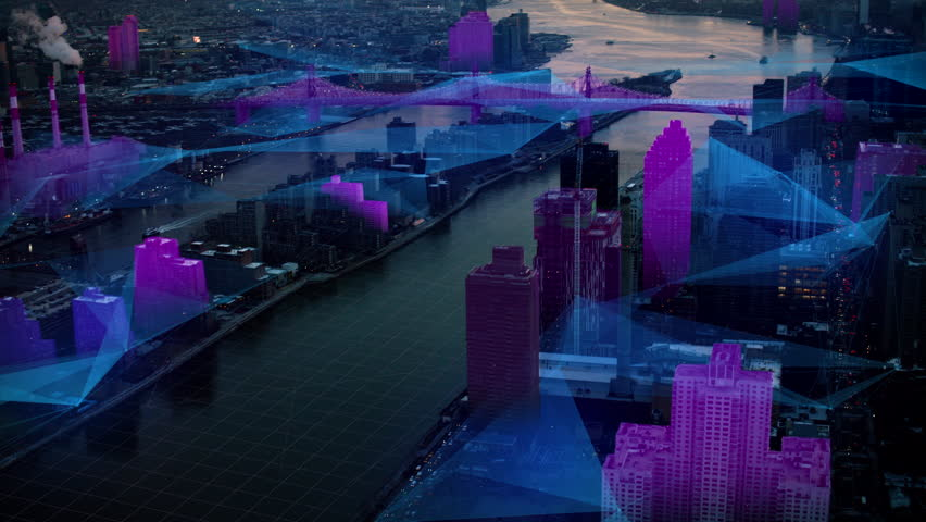 Aerial view of the East River and Roosevelt Island, New York City, dark sunset lighting with Futuristic network and technology. Wide shot on 4k RED camera on helicopter