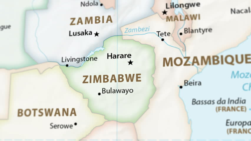 Zimbabwe on a political map of the world. Video defocuses showing and hiding the map (4K UHD). Royalty-Free Stock Footage #1023226561