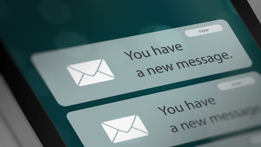 Message App Icon with Notifications on Smart Phone Screen. New Message Notification on Smart Phone Device. Seamless Loop.    Shutterstock HD Video #1023246913
