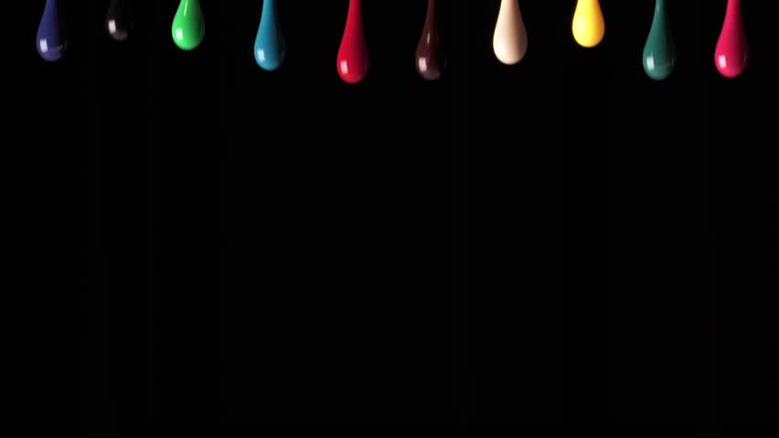 Single paint drops of various colors on black background. Colorful continuous paint dribbles.  | Shutterstock HD Video #1023255883