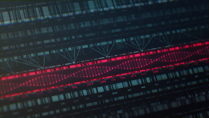 3D animation of 2D vector graphs charting charting DNA patterns and genetics with light green and bright red colors. Created in 4k.