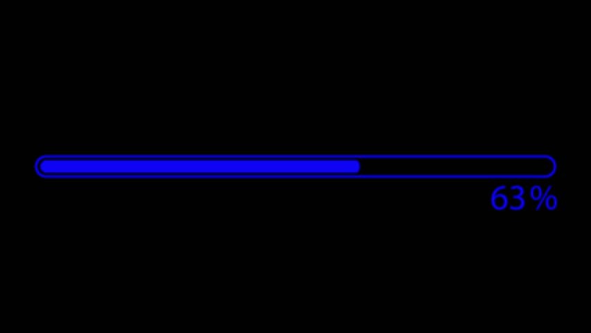 Blue color HUD futuristic element line loading transfer download animation with 0 to 100% increasing,progress bar #1023296131