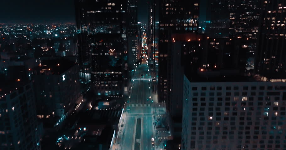 Cinematic Los Angeles Downtown Aerial at Night- Empty Street 4K