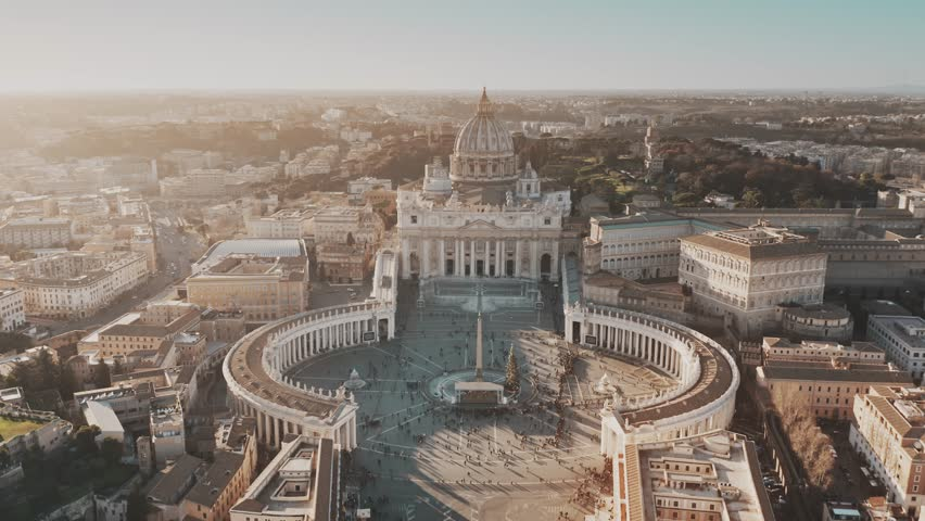 Establishing aerial shot of Vatican City. Crowded St. Peter's Square | Shutterstock HD Video #1023304927