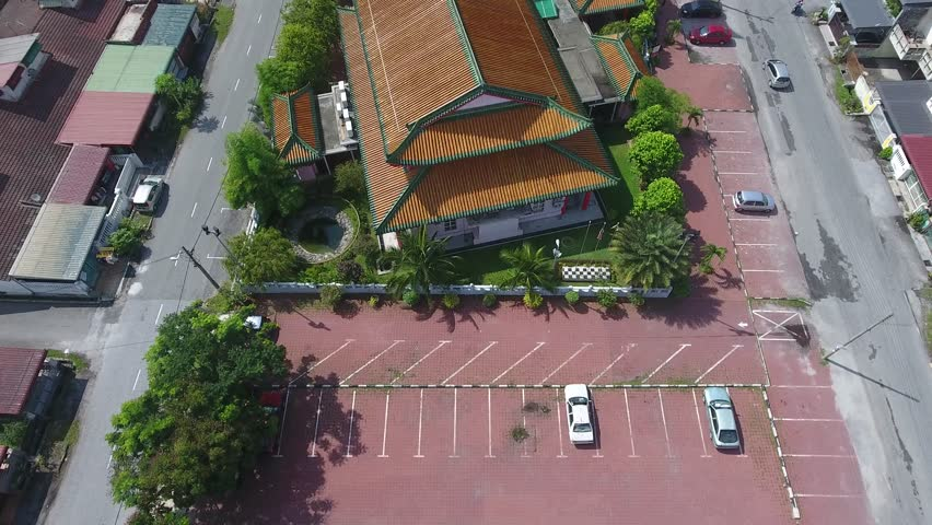 Aerial view at Chinese Mosque, Ipoh Perak. Also known as Muhammadiah Mosque. Clip contains excessive noise, compression artifacts, pixelation and/or banding. | Shutterstock HD Video #1023309103