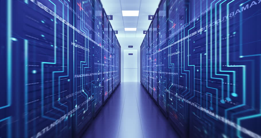 Server Racks In a Modern Data Center. Computer Racks All Around. Flying Circuits. Technology Related 4K Cg Animation. | Shutterstock HD Video #1023309745