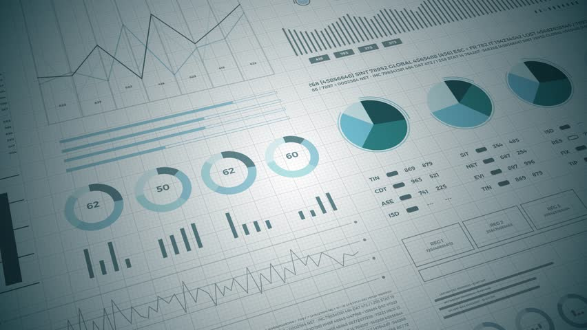 Statistics, financial market data, analysis and reports, numbers and graphs. Loopable animated opening video 4K.