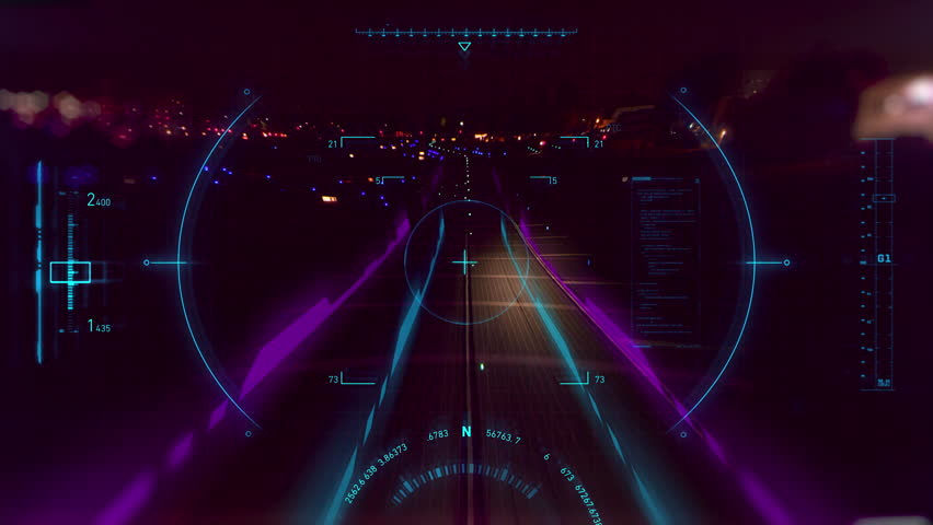 2D animated HUD elements used as navigation as airplane is landing at airport at night. Footage shot on 4k RED camera.
