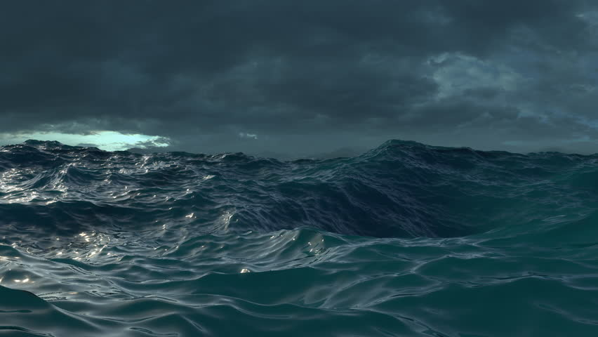 Ocean Waves During a Storm, Computer generated seamless loop