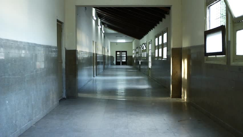 Empty Corridor at a High School in Argentina. Zoom In.