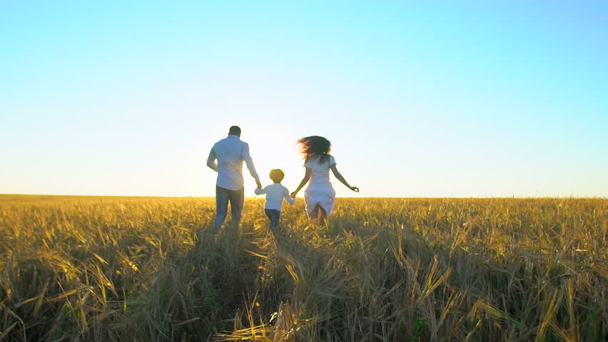 Happy family outdoors running on wheat field with little boy. Mother, father and son kid child having fun on summer day, enjoying nature together. health love travel summertime happy holiday happiness | Shutterstock HD Video #1023362641