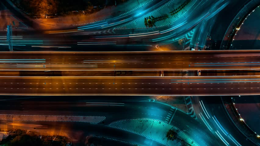 Time lapse expressway top view, Circl Road traffic an important infrastructure in Bangkok Thailand Royalty-Free Stock Footage #1023427723