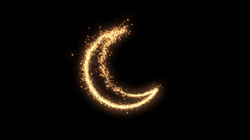 Shining sparkles creating a crescent that can be used as a nice abstract background with your logo or title. Abstract glowing crescent.