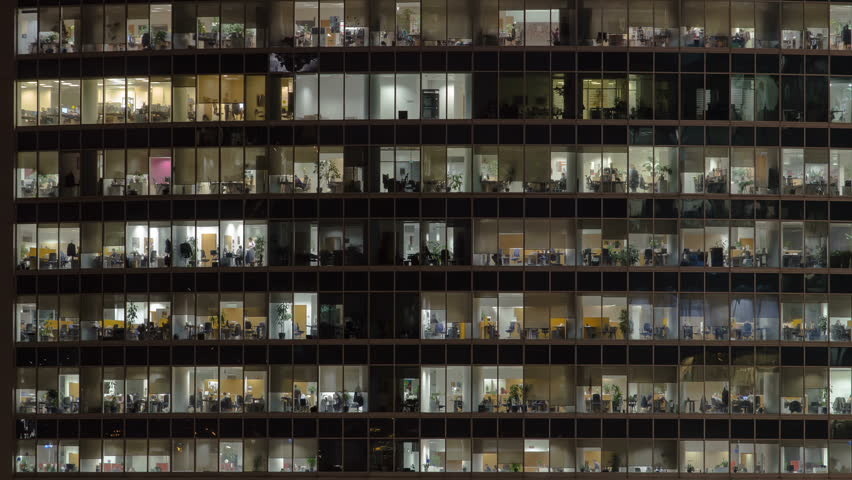 Close up view to office windows in Skyscrapers International Business Center City at night with Moscow river timelapse from top, Moscow, Russia. Zoom in Royalty-Free Stock Footage #1023466849