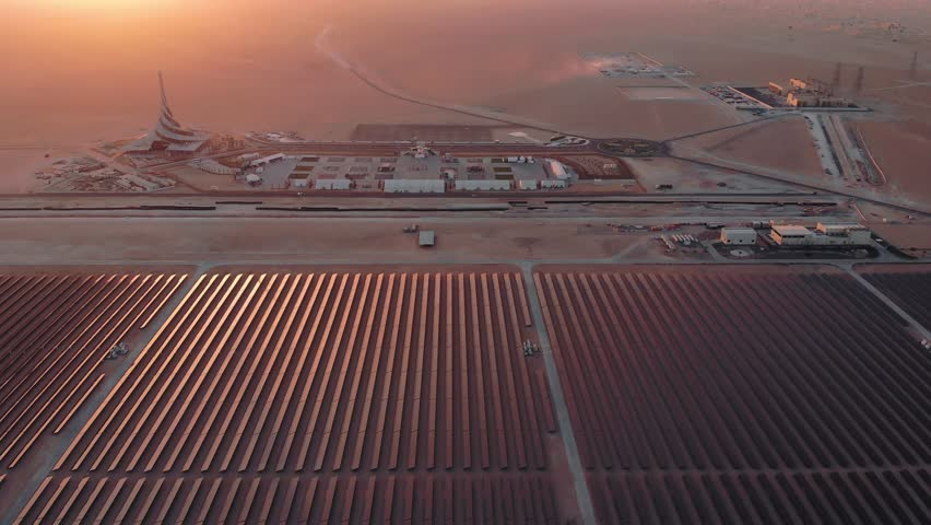 AERIAL. Top view of huge power plant and solar panel at UAE.