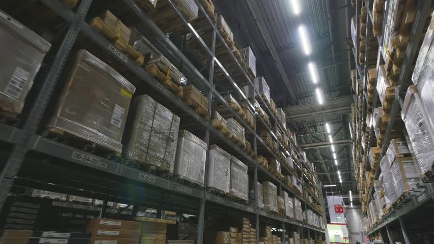 Interior of a multi-level warehouse. Steadicam shot  | Shutterstock HD Video #1023498352