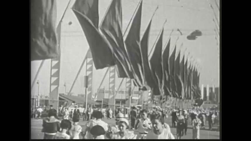 CIRCA 1933, - The Century of Progress Exposition. Scenes from the opening ceremony of the Summer Olympic Games in Los Angeles in 1932.