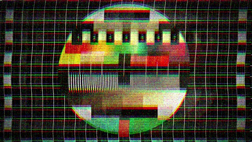 A flickering, analog TV signal with bad interference, static, and color bars. | Shutterstock HD Video #10235333