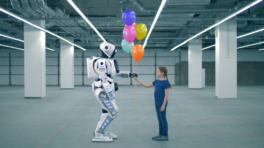 Concept of future. One girl presenting balloons to a droid, side view.
