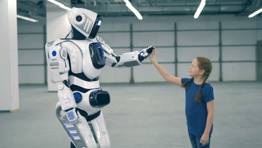 Robot and girl touch hands. Futuristic humanoid robot | Shutterstock HD Video #1023534970