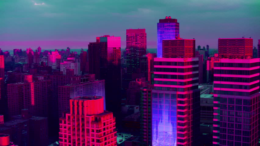 Aerial view of a Dystopian New York city in the future with projection mapping on buildings with cyberpunk, neon colors. Wide shot. Shot on 4k RED camera.