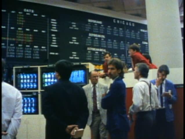 WINNIPEG, MANITOBA, 1990, Winnipeg Commodities Exchange, traders, stockbrokers