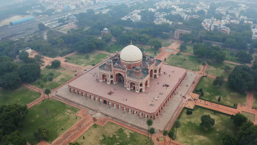 Aerial view of the Humayun's Tomb in Delhi, India. Humayun's tomb is the tomb of the Mughal Emperor Humayun