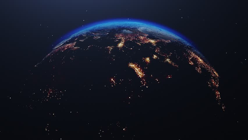 Beautiful sunrise world skyline. Planet earth from space. Planet earth rotating animation. Clip contains space, planet, galaxy, stars, cosmos, sea, earth, sunset, globe. 4k 3D Render. Images from NASA | Shutterstock HD Video #1023566578