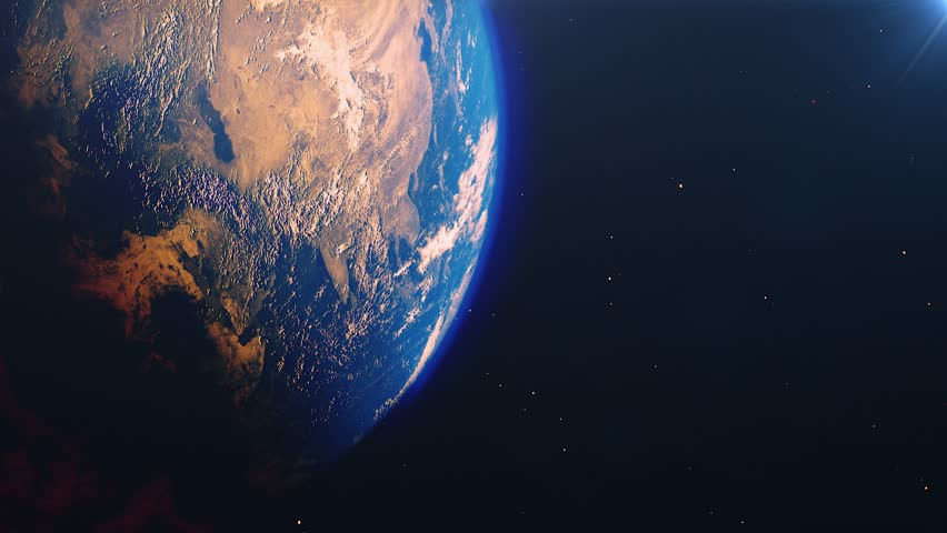 Planet earth from space. High detailed animation. Sunrise view from space on Planet Earth. Clip contains space, planet, galaxy, stars, cosmos, sea, earth, sunset, globe. 4k 3D Render. Images from NASA | Shutterstock HD Video #1023566665