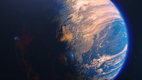 Beautiful sunrise world skyline. Planet earth from space. Planet earth rotating animation. Clip contains space, planet, galaxy, stars, cosmos, sea, earth, sunset, globe. 4k 3D Render. Images from NASA