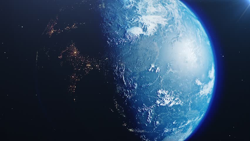 Beautiful sunrise world skyline. Planet earth from space. Planet earth rotating animation. Clip contains space, planet, galaxy, stars, cosmos, sea, earth, sunset, globe. 4k. Images from NASA | Shutterstock HD Video #1023566830