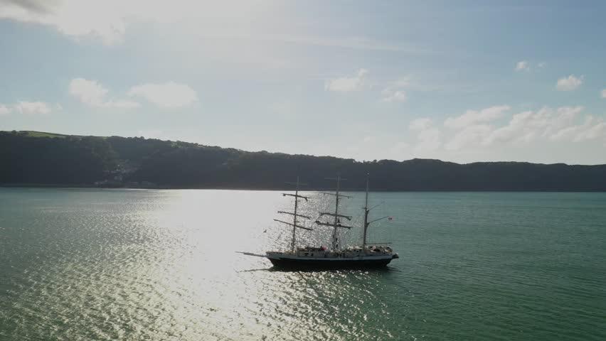 Aerial pan around Barque ship   Shutterstock HD Video #1023572932