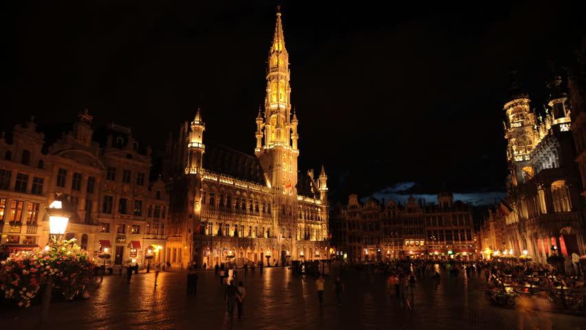 BRUSSELS, BELGIUM - JULY 12, 2009 Time Lapse of Brussels Center People Visit Grand Market Square Landmarks Night