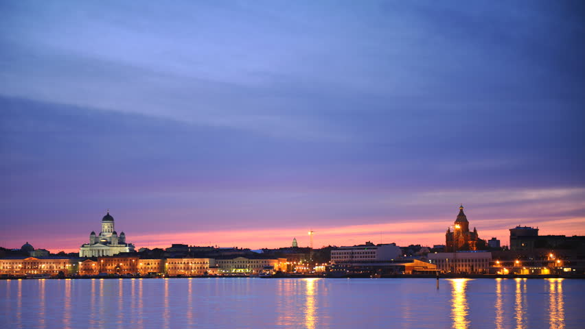 Panoramic Time Lapse of Helsinki City Skyline Iconic Sightseeing Dusk to Night
