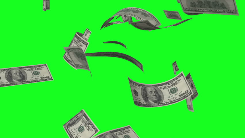 Banknotes slowly fall down on a green screen. | Shutterstock HD Video #1023590428