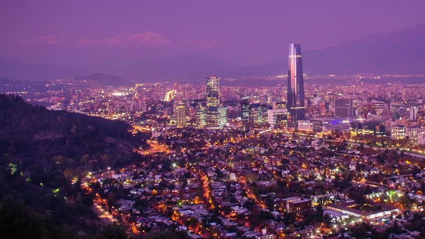 Timelapse of Santiago skyline at Dusk, panning. Chile