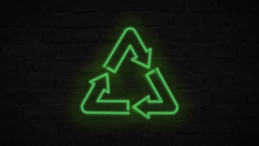 Neon Green Recycling Symbol Banner on Brick Wall. Reduce Reuse Recycle Zero Waste Lifestyle No Plastic Concept 4K Animation Background.